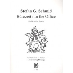 Schmid, Stefan G.: B├╝rozeit : f├╝r 4 Perkussionisten (mit B├╝romaterial) Partitur und Stimmen