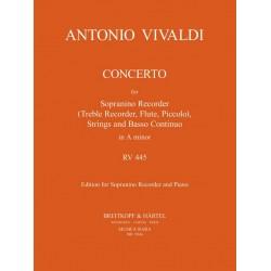 Vivaldi, Antonio: Koncert a-Moll RV445 für Blockflöte (So), Streicher und Bc : für Blockflöte und Klavier