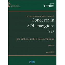 Tartini, Giuseppe: Concerto in Sol maggiore D78 : per violino, archi e basso continuo Partitura