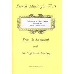 D'Anglebert, Jean-Henri: Variations sur les Folies d'Espagne : for 3 bass viols and bc (ad lib) (bc not realized) parts