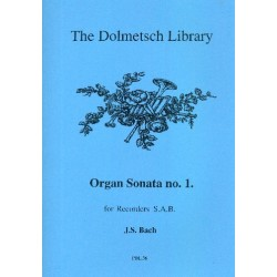 Bach, Johann Sebastian: Organ Sonata no.1 for 3 recorders (SAB) score and parts