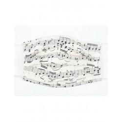 Gesichtsmaske mit Musik Design - Notenzeilen