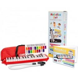 Cascha Melodica Set Rot, inklusive Tasche, Mundstück, Schule ab 5 Jahre