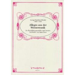 Händel, Georg Friedrich: Allegro aus der Wassermusik : für 9 Blockflöten (2 S'ino, SSA (Soli), SATB) und Pauke Partitur und