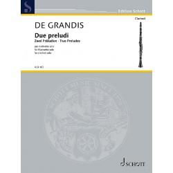 Grandis, Renato de, Zwei Präludien Klarinette in B Einzelausgabe