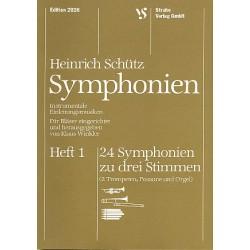 Schütz, Heinrich: Sinfonien zu 3 Stimmen Band 1 : 24 Sinfonien für 2 Trompeten, Posaune und Orgel , Partitur