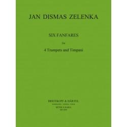 Zelenka, Jan Dismas: 6 Fanfaren : f├╝r 4 Trompeten und Pauken Partitur und Stimmen