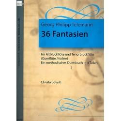 Telemann, Georg Philipp: 36 Fantasien Band 1 (Nr.1-8) für Altblockflöte und Tenorblockflöte (Flöte, Violine), Spielpartitur