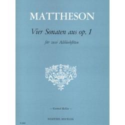 Mattheson, Johann: 4 Sonaten aus op.1 : für 2 Altblockflöten Partitur