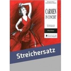 Bizet, Georges: Carmen in Concert für Sprecher und Streichorchester Partitur mit Text, Klavierauszug und Stimmen