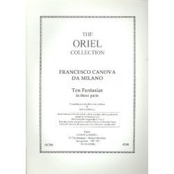 Canova da Milano, Francesco: 10 Fantasias in 3 Parts for 3 viols or recorders score+parts