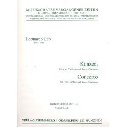 Leo, Leonardo: Konzert D-Dur für 4 Violinen und Bc Partitur