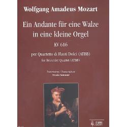 Mozart, Wolfgang Amadeus: Andante für eine Orgelwalze KV616 für 4 Blockflöten (ATBB) Partitur und Stimmen