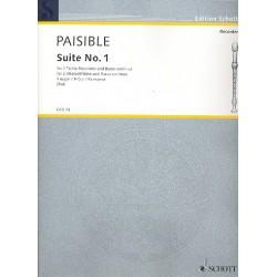 Paisible, Jacques (James): Suite F-Dur Nr.1 : f├╝r 2 Altblockfl├Âten und Klavier