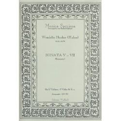 Hueber (Huber), Wendelin: Sonaten Nr.5 - 7 : f├╝r 2 Violinen, 4 Violen und Bc Partitur und Stimmen (Bc nicht ausgesetzt)