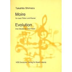 Shimazu, Takehito: Moire und Evolution : für 2 (3) Flöten (und Klavier) Stimmen
