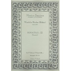 Hueber (Huber), Wendelin: Sonaten Nr.1-3 : f├╝r 2 Violinen, 4 Violen und Bc Partitur und Stimmen (Bc nicht ausgesetzt)