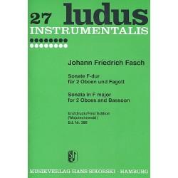 Fasch, Johann Friedrich: Sonate F-Dur : f├╝r 2 Oboen und Fagott Partitur und Stimmen