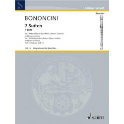 Bononcini, Giovanni Battista: 7 Suiten Band 2 (Nr.4-7) : f├╝r 2 Altblockfl├Âten und Klavier