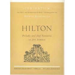 Hilton, John: Preludio und 5 Fantasien : f├╝r 3 Blockfl├Âten (SSB/SSA) Stimmen