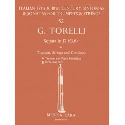 Torelli, Giuseppe: Sonate D-Dur G6 für Trompete, Streicher und Bc Partitur und Stimmen (Streicher 1-1-1-4)
