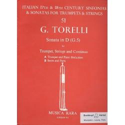 Torelli, Giuseppe: Sonata D-Dur G5 für Trompete, Streicher und Bc Partitur und Stimmen (Streicher 1-1-1-4)