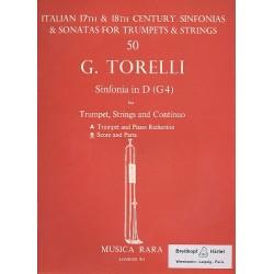 Torelli, Giuseppe: Sonata D-Dur G4 für Trompete, Streicher und Bc Partitur und Stimmen (Streicher 1-1-1-4)