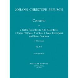 Pepusch, Johann Christoph: Concerto F-Dur op.8,1 : für 2 Alt- bfl (fl, Tenorbfl, Oboen, Vl) und Bc.. Partitur und Stimmen