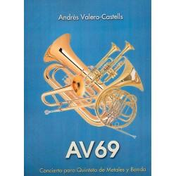 Valero-Castells, Andrés: AV69 : für 2 Trompeten, Horn, Posaune Tuba und Blasorchester Partitur (Din A3)