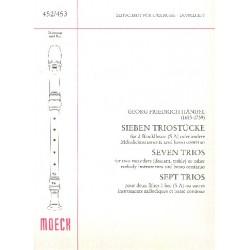 Händel, Georg Friedrich: 7 Triostücke : für 2 Blockflöten (SA) oder andere Melodieinstrumente und bc Partitur