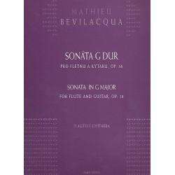 Bevilacqua, Matteo (Mathieu): Sonate G-Dur op.38 für Flöte und Gitarre Partitur und Stimme