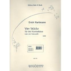 Hartmann, Erich: 4 Stücke : für 3 Kontrabässe (Violoncelli) Stimmen