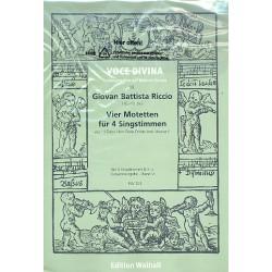 Riccio, Giovanni Battista: 4 Motetten : für 4 Singstimmen und Bc 5 Partituren (Bc nicht ausgesetzt)