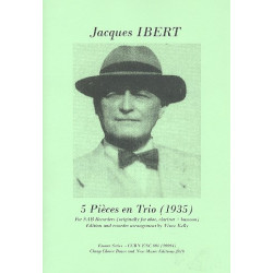 Ibert, Jacques: 5 Pièces en Trio for 3 recorders (SAB) 3 scores