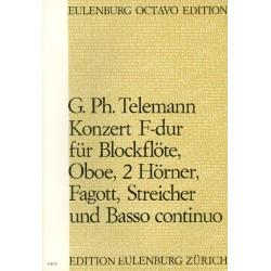 Telemann, Georg Philipp: Konzert F-Dur : für Blockflöte, Oboe, 2 Hörner, Fagott, Streicher und Bc Partitur