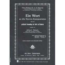 Zabel, Albert Heinrich: Ein Wort an die Herren Komponisten: Über die praktische Verwendung der Harfe im Orchester