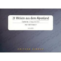 21 Weisen aus dem Alpenland : f├╝r 2 Posaunen Partitur und Stimmen