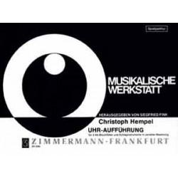 Hempel, Christoph: Musikalische Werkstatt Uhr-Aufführung 4 Altbockflöten und Schlaginstrumente
