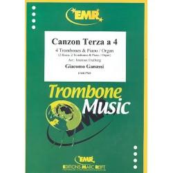 Ganassi, Giacomo: Canzon Terza a 4 : f├╝r 4 Posaunen (2 Posaunen und 2 H├Ârner) und Klavier (Orgel) Stimmen