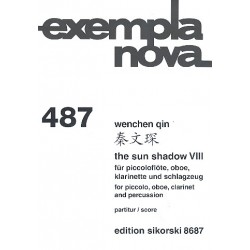 Qin, Wenchen: The Sun Shadow Nr. 8 : f├╝r Piccolofl├Âte, Oboe, Klarinette ud Schlagzeug Partitur