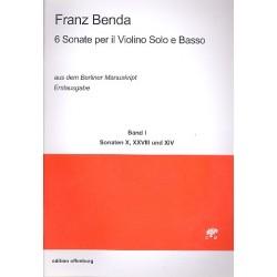 Benda, Franz: 6 Sonaten aus dem Berliner Manuskript Band 1 : für Violine und Bc Partitur und Stimmen (Bc nicht ausgesetzt)