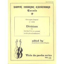 Simpson, Christopher: Divisions on a Ground for 2 bass viols and keyboard score and parts