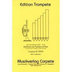 Mouret, Jean-Joseph: Sinfonies de fanfares B-Dur für 3 Trompeten und Orgel (Pauken ad lib) Partitur und Stimmen