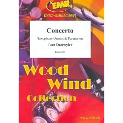 Concerto : for 4 saxophones (SATBar) and percussion (1 player) score and parts