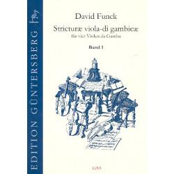 Funck, David: Stricturae viola-di gambicae Band 1 (Nr.1-16) für 4 Violen da gamba Partitur und Stimmen