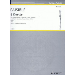 Paisible, Jacques (James): 6 Duette op.1 Band 1 : für 2 Altblockflöten Spielpartitur