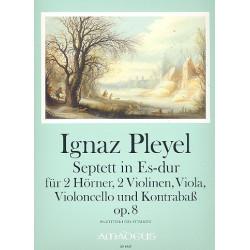 Pleyel, Ignaz Joseph: Septett Es-Dur op.8 : für 2 Hörner, 2 Violinen, Viola, Violoncello und Kontrabass Partitur und Stimmen