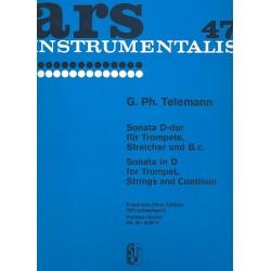 Telemann, Georg Philipp: Sonate D-Dur für Trompete, Streicher und Bc Partitur