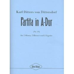 Ditters von Dittersdorf, Karl: Partita A-Dur Nr.19 : f├╝r 2 Oboen, 2 H├Ârner und 2 Fagotte Partitur und Stimmen