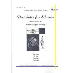 Philipp, Hans-Jürgen: 3 Sätze für Silvester : für 2 Trompeten, Posaune, Bassposaune und Pauken Partitur und Stimmen